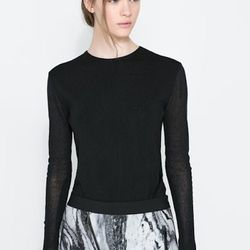 """Sweater with transparent back, <a href=""""http://www.zara.com/us/en/woman/knitwear/sweater-with-transparent-back-c437626p1524028.html"""">Zara</a>, $19.99"""