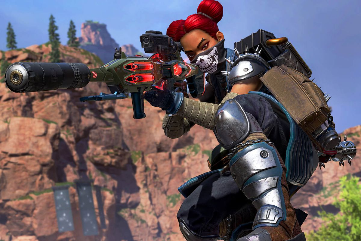 Lifeline aims the Longbow rifle in a screenshot from Apex Legends