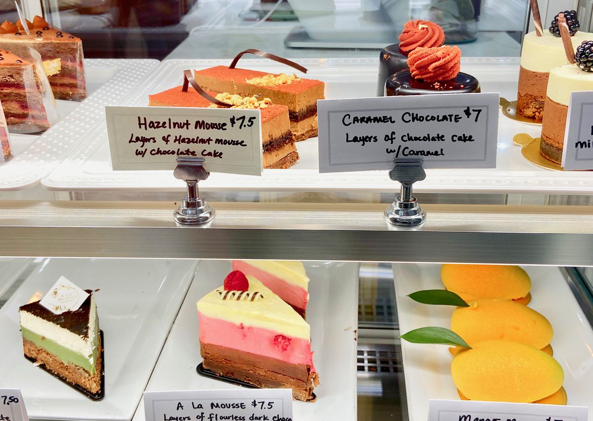display case with colorful pastries