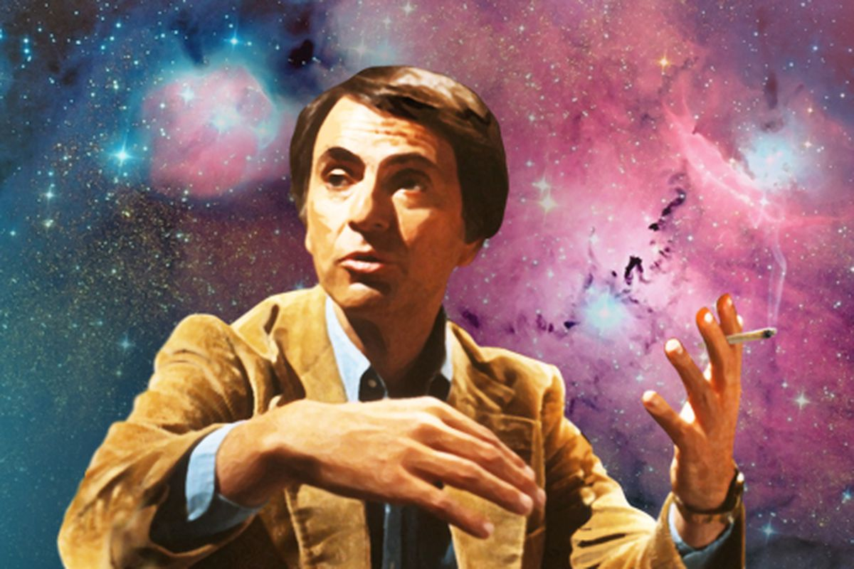 An illustration of Carl Sagan holding a joint.
