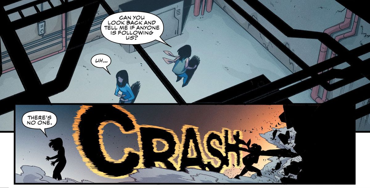 """""""Can you look back and tell me if anyone is following us?"""" Ms. Marvel/Kamala Khan asks the girl she's protecting. When she turns, Kamala embiggens her hands and slams them into a wall with a big CRASH, in Outlawed #1, Marvel Comics (2020)."""