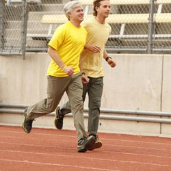 """Father/son team David, left, and Connor, right, O'Leary make their way to the starting line at the College of the Canyons in Santa Clarita, California on """"The Amazing Race"""" premiering Sunday, Feb. 23, 2014 on the CBS Television Network."""