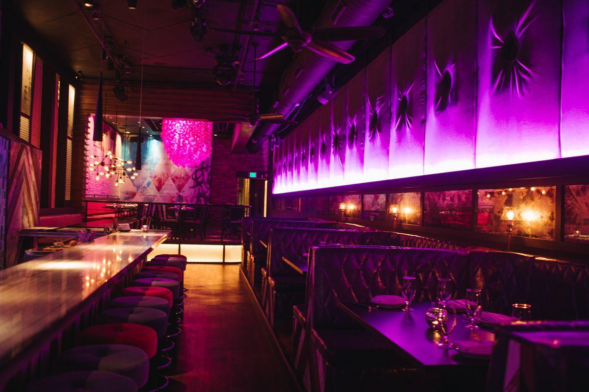 dark restaurant lounge with purple lights