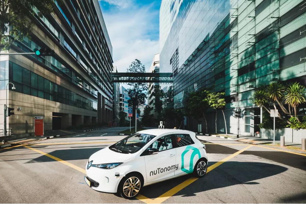 A nuTonomy autonomous car parked in an urban setting
