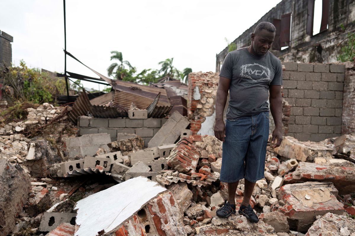 Haitian man after 7.2 earthquake