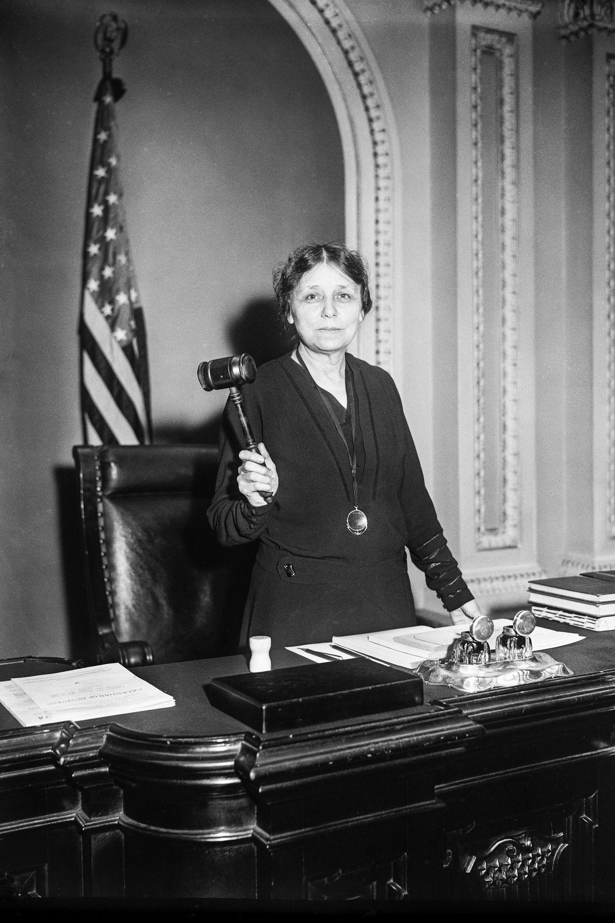 Sen. Hattie Caraway (R-AR), the first woman elected to serve as a US Senator, circa 1932