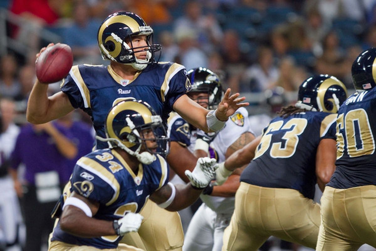 ST. LOUIS - SEPTEMBER 2: Sam Bradford #8 of the St. Louis Rams passes against the Baltimore Ravens during an NFL preseason game at the Edward Jones Dome on September 2 2010 in St. Louis Missouri.  (Photo by Dilip Vishwanat/Getty Images)