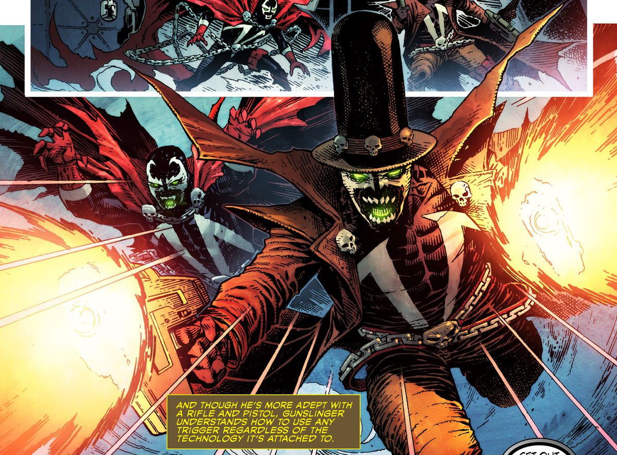 Spawn and Gunslinger — who looks like an Old West Spawn with a hat — shoot their way out of a predicament in Spawn's Universe #1 (2021).