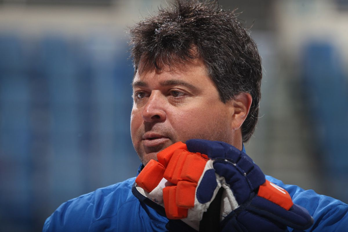UNIONDALE, NY - JULY 13:  Head coach Jack Capuano keeps an eye on the New York Islanders prospects evaluation camp at Nassau Veterans Memorial Coliseum on July 13, 2011 in Uniondale, New York.  (Photo by Bruce Bennett/Getty Images)