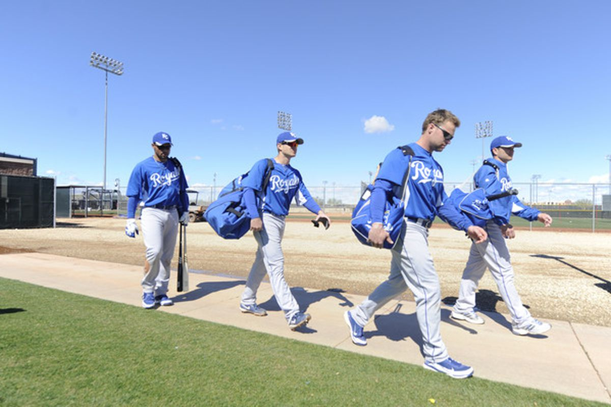SURPISE, AZ - FEBRUARY 27: Members of the Kansas City Royals walk to the man field before  a spring training game against the Texas Rangers at Surprise Stadium on February 27, 2011 in Surprise, Arizona. (Photo by Rob Tringali/Getty Images)