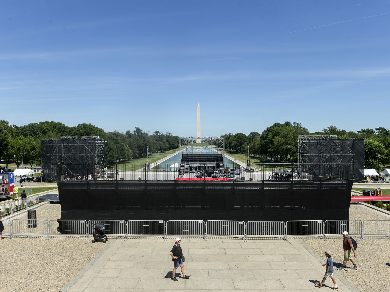 """Set-up continues on July 1, 2019, for President Donald Trump's """"Salute to America"""" event on Independence Day."""