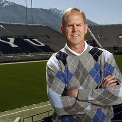 BYU athletic director Tom Holmoe poses for a photo at LaVell Edwards Stadium Thursday, May 12, 2011.