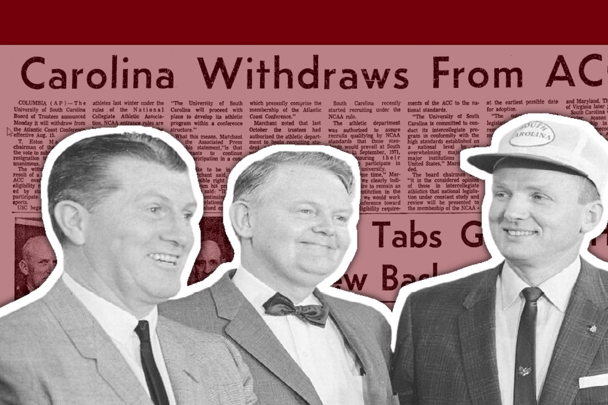 """Frank McGuire, Thomas Jones, and Paul Dietzel at a press conference, in front of a news clipping from The State with the headline """"Carolina withdraws from ACC"""""""