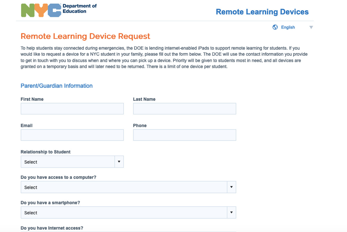Education officials asked parents to fill out a survey ahead of the start of remote learning classes.