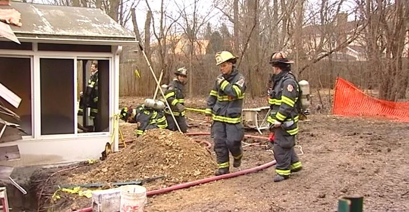 Firefighters clear the scene at a Lake Forest house fire on Thursday morning. | Network Video Productions