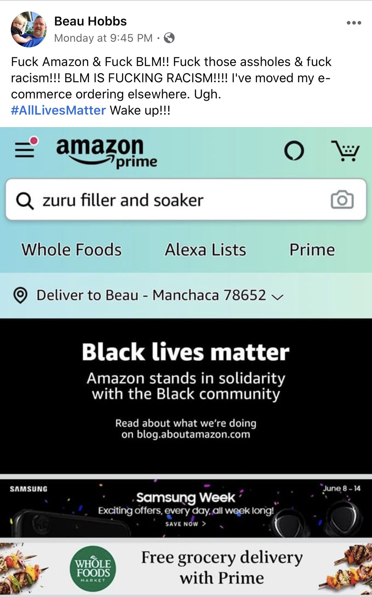 """Screenshots from Beau Hobb's Facebook that says """"Fuck Amazon & Fuck BLM! [...] """"BLM IS FUCKING RACISM"""""""