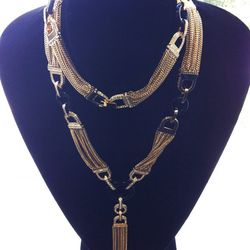 """""""I layered a bunch of these together in my show, but you can also wear it long as one. I also wrap it as a bracelet."""" Art Deco Collection wrap necklace, $650"""