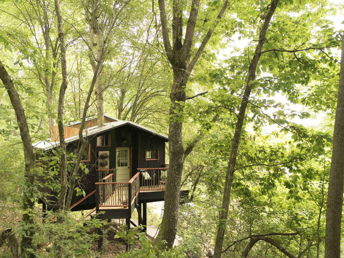 A small, dark wood treehouse features a deck, stairs leading to the ground, and green trees all around.
