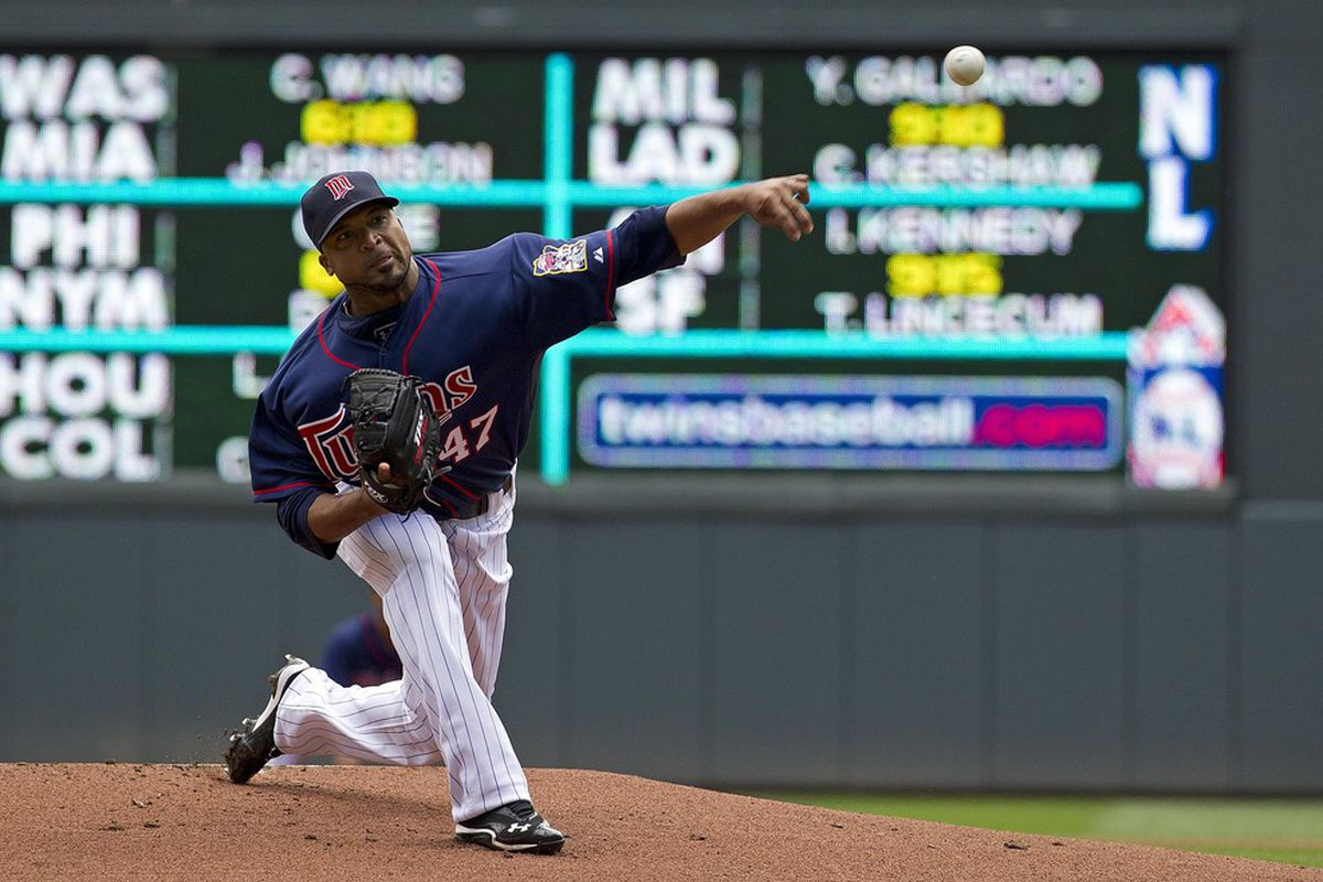 May 30, 2012; Minneapolis, MN, USA: Minnesota Twins starting pitcher Francisco Liriano (47) delivers a pitch in the first inning against the Oakland Athletics at Target Field. Mandatory Credit: Jesse Johnson-US PRESSWIRE