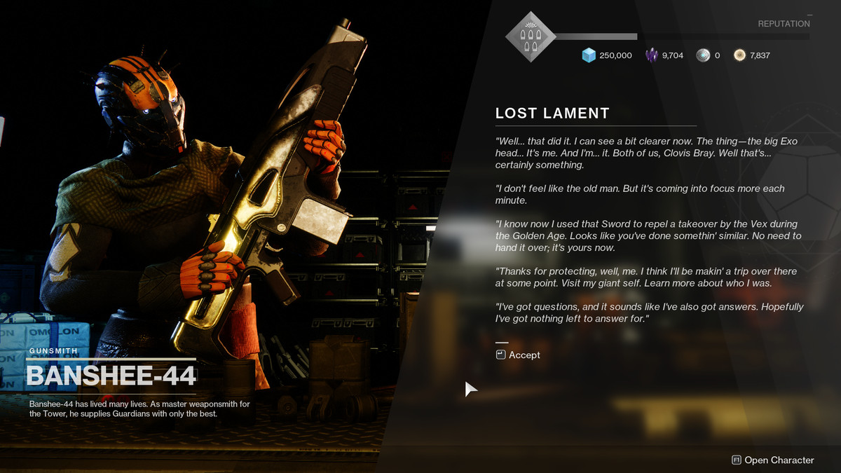 Destiny 2 Banshee-44 realizes he's Clovis