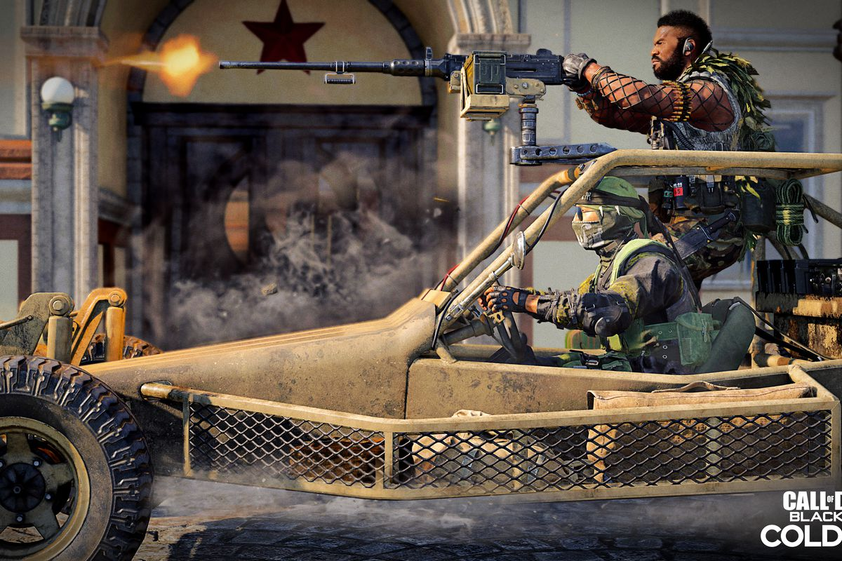 Call of Duty players drive by a Soviet-era building in Warzone
