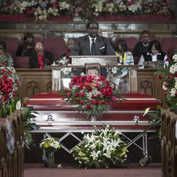 """Rev. Dr. Marshall Elijah Hatch Sr. spoke during the funeral services for Bettie Jones, who was """"accidentally"""" shot to death by a Chicago Police officer the day after Christmas, at New Mount Pilgrim Missionary Baptist Church on Wednesday, Jan. 6, 2016."""