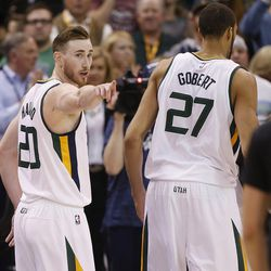 Gordon Hayward, shown here pointing at teammate Rudy Gobert, has a big decision this summer, that being whether to re-sign with the Utah Jazz or continue his NBA career with another franchise.