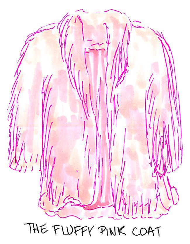 An illustration of a pink fluffy coat