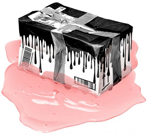 Shipping box with Kylie Cosmetics logo sitting in a pool of pink goo