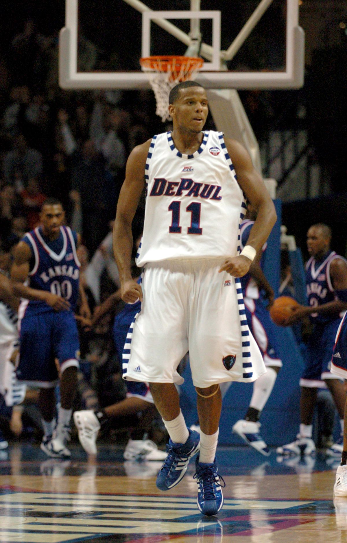 DePaul's Sammy Mejia (11) reacts after tying the game in the