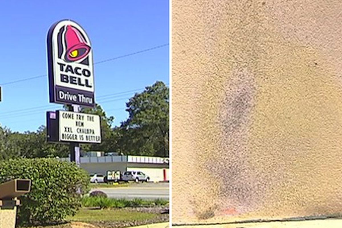 Left, the Taco Bell in question advertises the XXL Chalupas. Right, the damage.