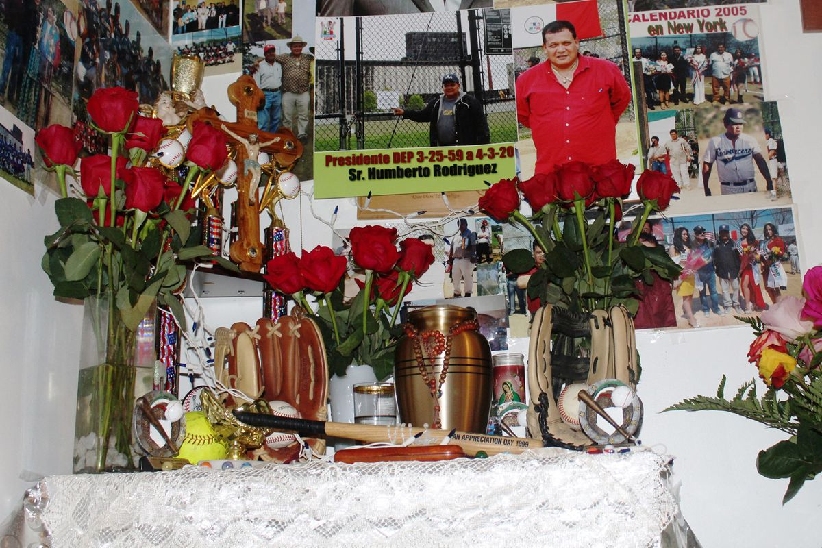 Patricia Rodriguez set up a memorial in her Brooklyn apartment for her father, Humberto Rodriguez, after he passed away from the coronavirus in early April.