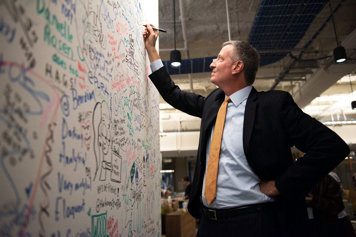 Mayor Bill de Blasio, at a drawing board.