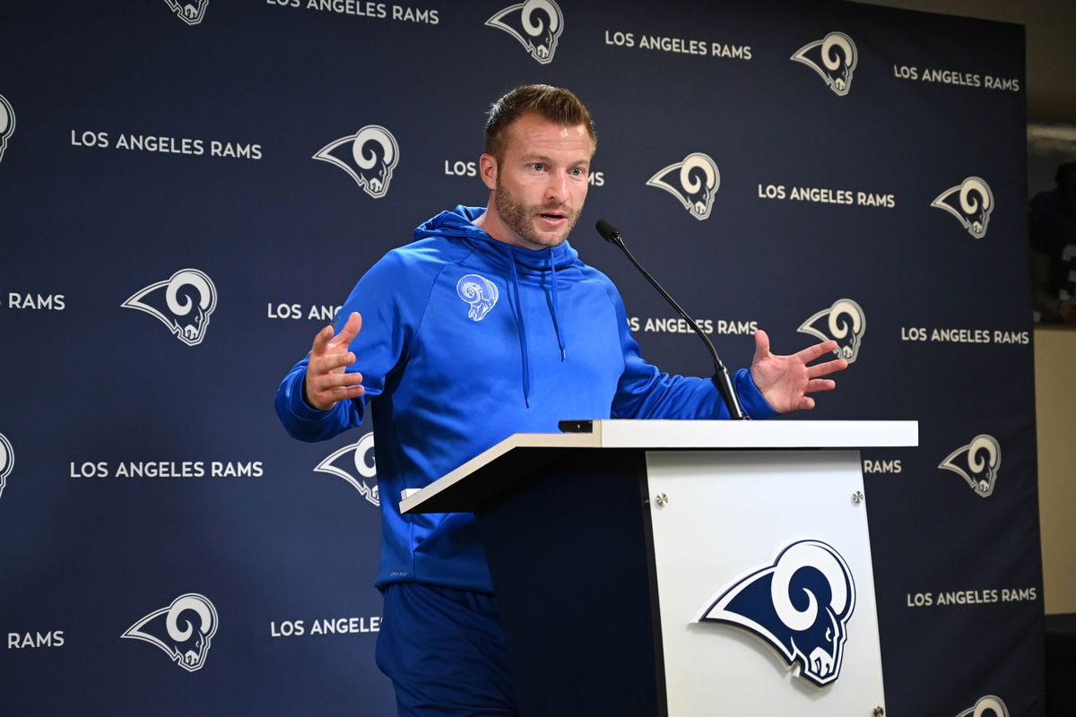 Los Angeles Rams Head Coach Sean McVay at a press conference during organized team activities, May 20, 2019.
