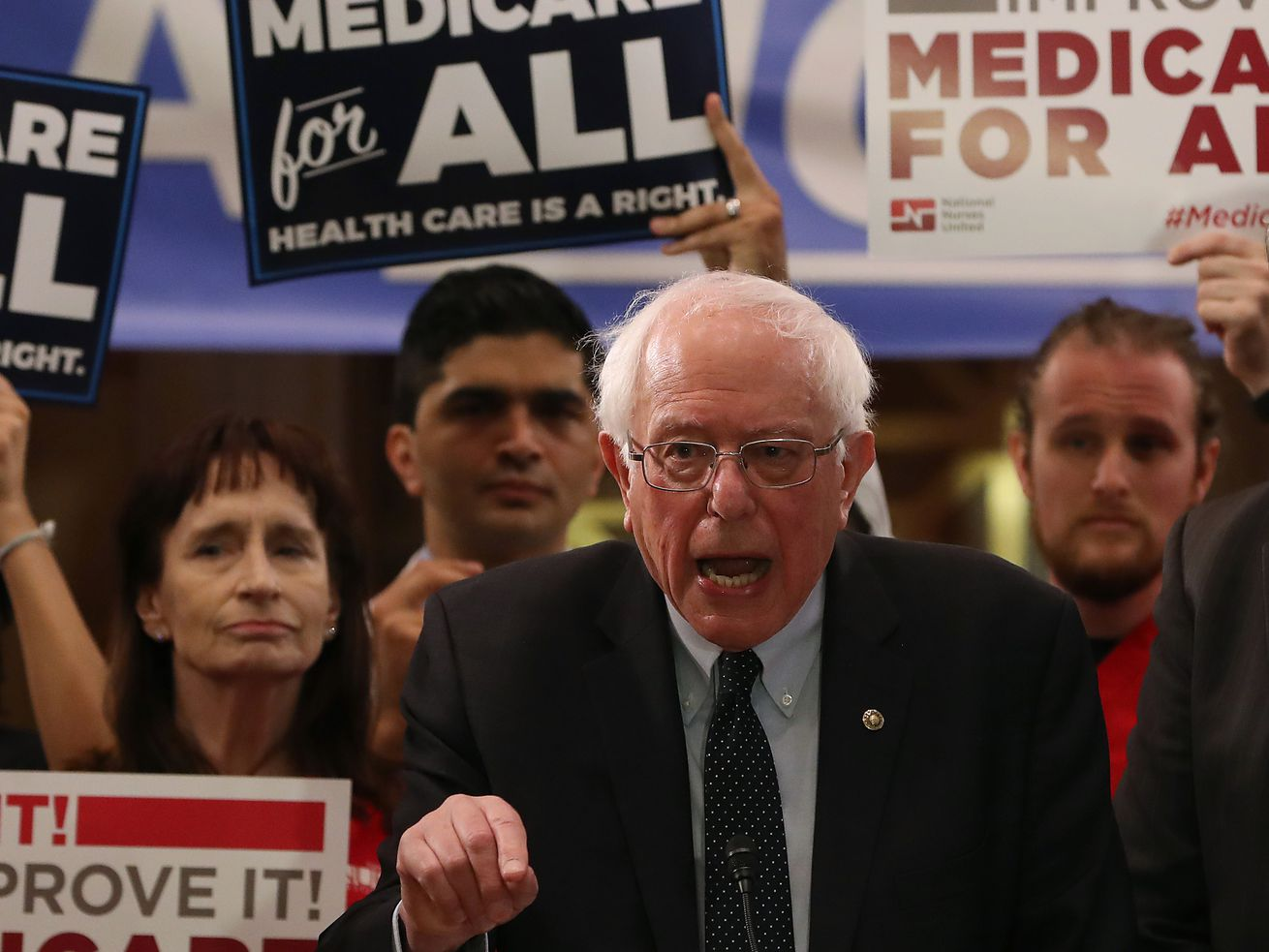 Sen. Bernie Sanders (I-VT) speaks while introducing health care legislation on Capitol Hill, on April 9, 2019, in Washington, DC.