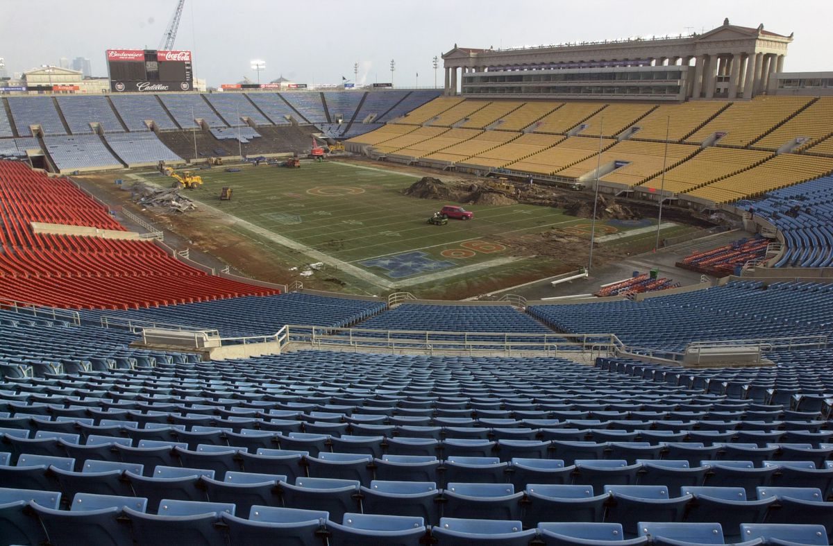 The inside of Soldier Field at the start of the renovation in 2002.