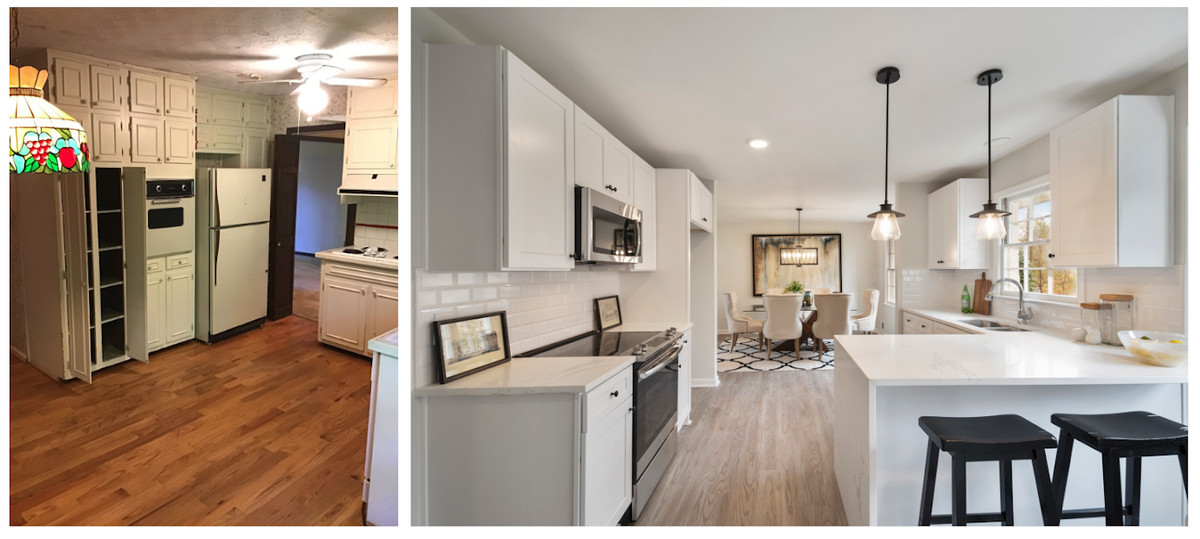 A before/after photo of a dingy kitchen turned bright white.