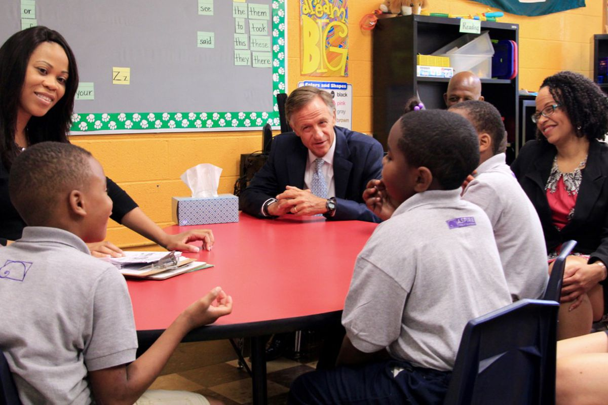 Gov. Bill Haslam visits the Memphis classroom of teacher Jessica Lindsay (left) at Aspire Coleman Elementary School. He was accompanied by Superintendent Malika Anderson of the Achievement School District, which oversees the charter school.