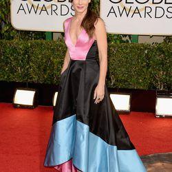 More color-blocking action via Sandra Bullock in a bold Prabal Gurung dress.