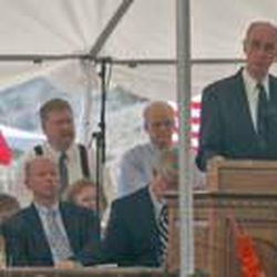 Elder Henry B. Eyring speaks during an event marking the 150th anniversary of the Mountain Meadows Massacre at the memorial site near Enterprise.