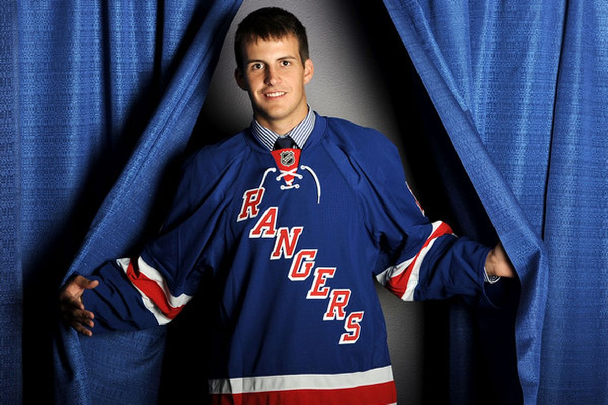 LOS ANGELES, CA - JUNE 26:  Andrew Yogan, drafted in the fourth round by the New York Rangers, poses for a portrait during the 2010 NHL Entry Draft at Staples Center on June 26, 2010 in Los Angeles, California.  (Photo by Harry How/Getty Images)