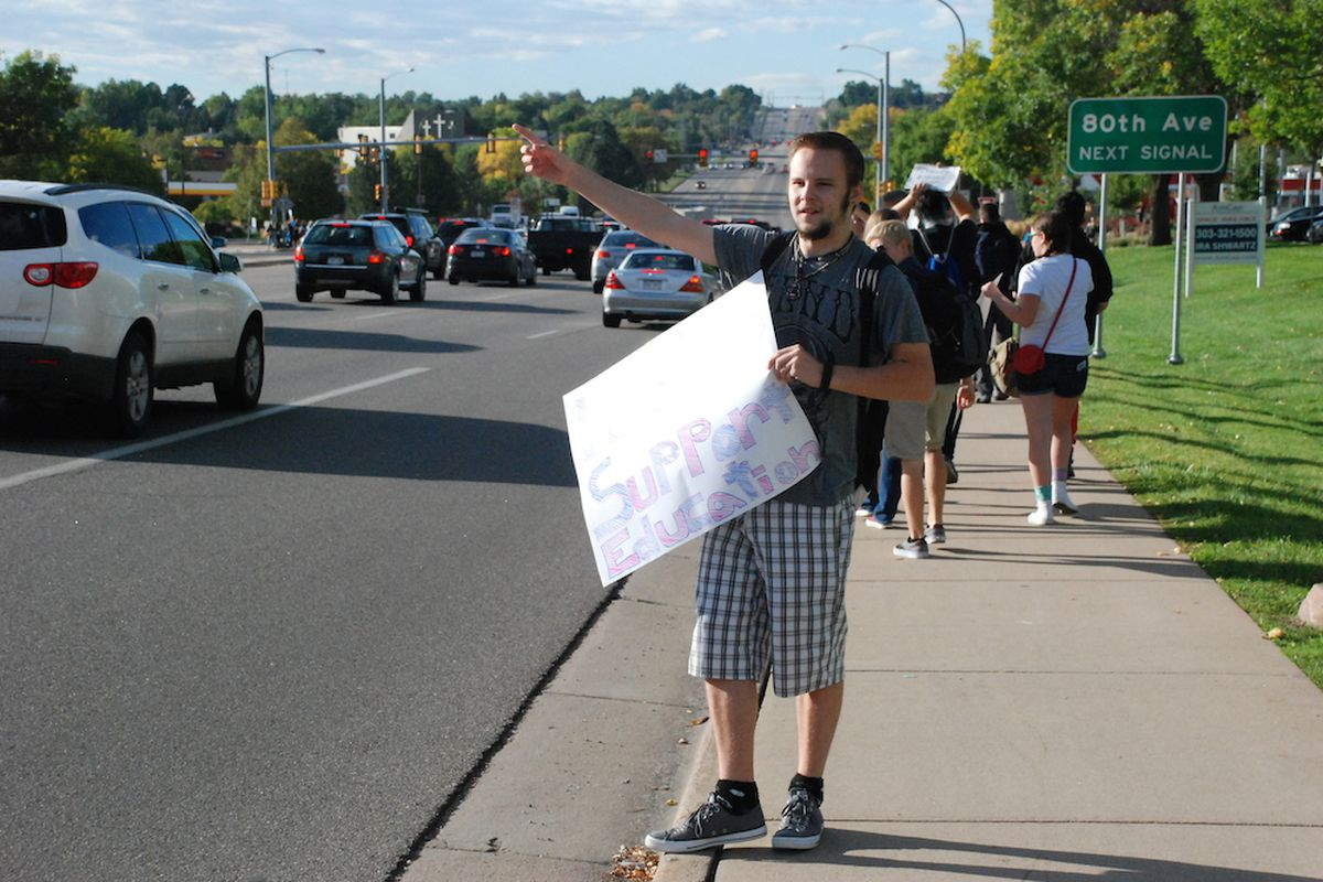 Pomona High School students rallied against a proposed curriculum review committee Tuesday. A review of previously challenged materials under current Jeffco Public Schools board policy found about one-fifth of challenges have been victorious.