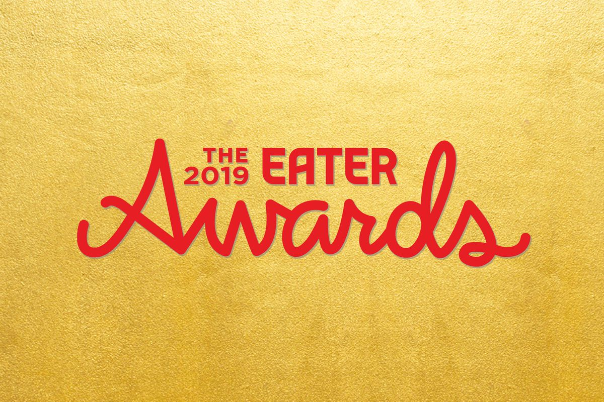 On a gold background red letters say the 2019 Eater Awards