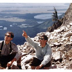 Rick Reese and Ted Wilson admire the sights from the East Horn of Mount Moran in Wyoming in 1968.