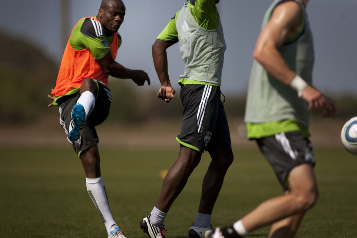Blaise Nkufo will almost certainly be playing his final year, Seattle Sounders coach Sigi Schmid said on Tuesday. Nkufo has only recently started training at 100 percent. (Photo courtesy of Sounders FC)