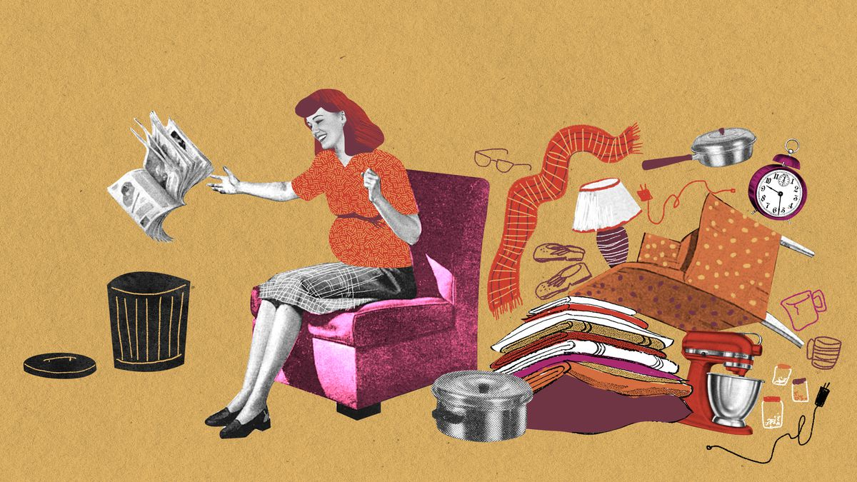 A middle-aged white woman who appears pregnant sits in a fuchsia arm chair. She is tossing a newspaper in the air towards an open trashcan. Behind her is a pile of home and personal items including a lamp, mixer, and alarm clock. Illustration.