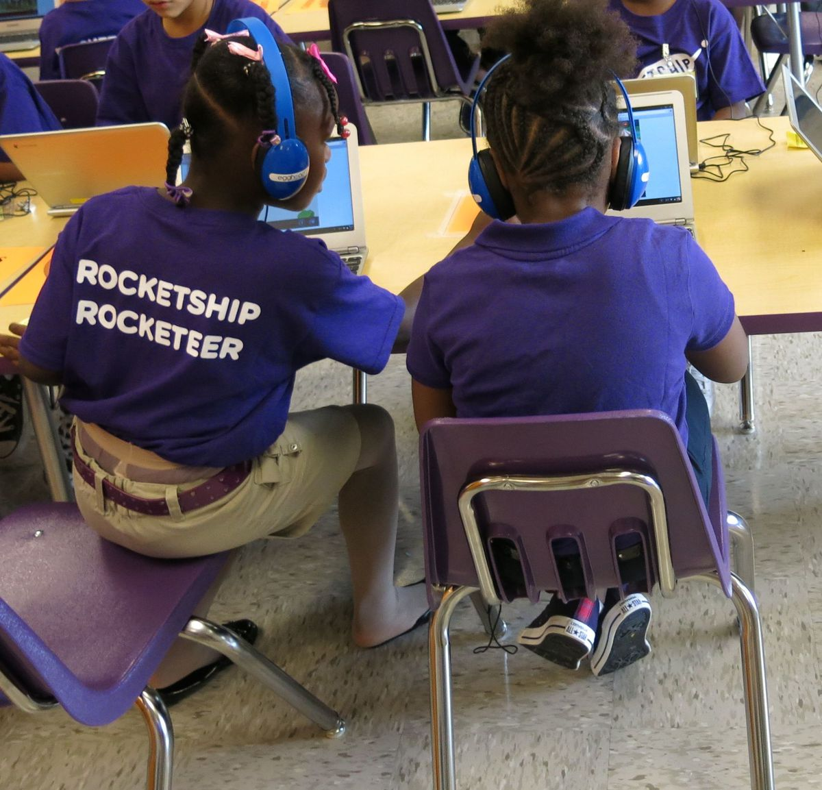 Students help each other in the learning lab at Rocketship Nashville Education.
