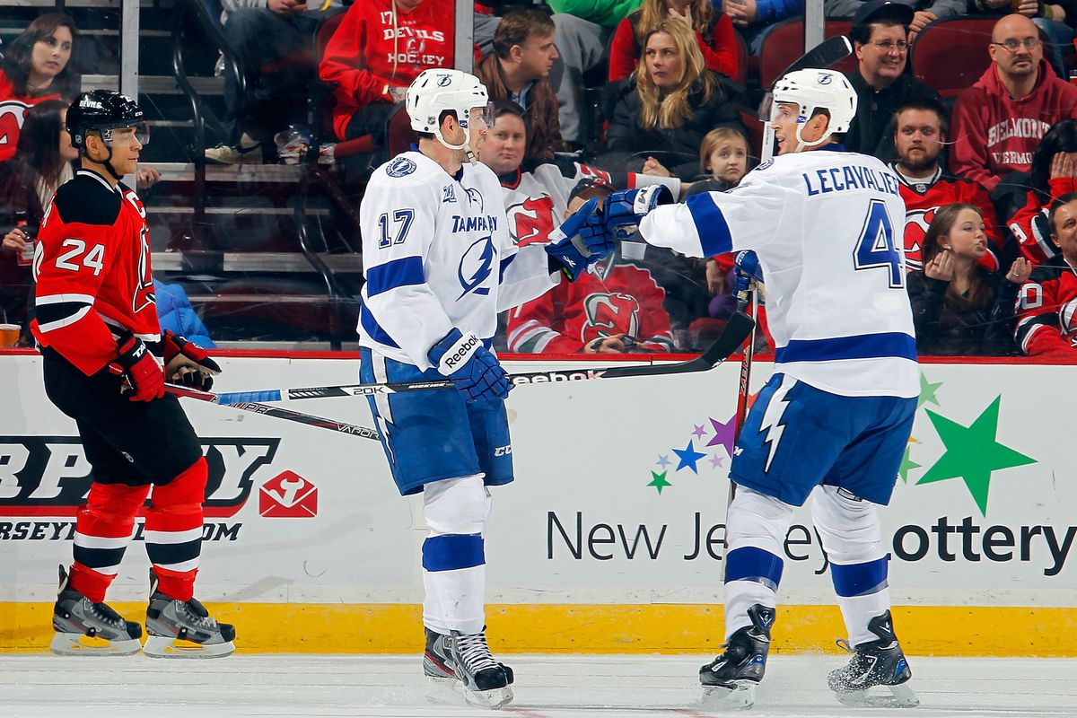 Left: Salvador, who had a bad game. Middle: Killorn, who had a good game.  Right: Lecavalier, who also did well.