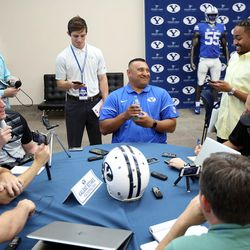 Head coach Kalani Sitake talks to members of the media at BYU Football Media Day at BYU Broadcasting in Provo on Friday, June 23, 2017.