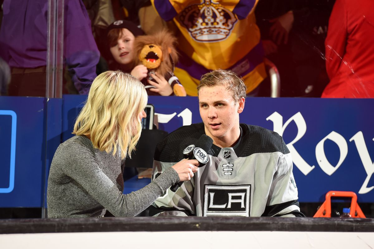 LOS ANGELES, CA - MARCH 7: Reporter Carrlyn Bathe of Fox Sports West interviews Blake Lizotte #46 of the Los Angeles Kings after their victory against the Minnesota Wild at STAPLES Center on March 7, 2020 in Los Angeles, California.